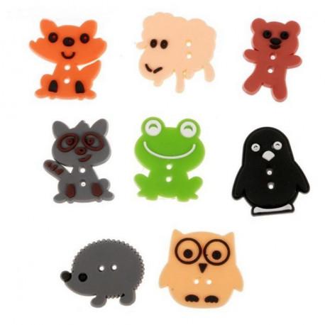 Забавные животные, набор резиновых пуговиц 8шт АртУзор