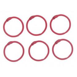 Красный, кольца для альбомов d3см 6шт металл АртУзор
