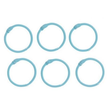 Светло-голубой, кольца для альбомов d3см 6шт металл АртУзор