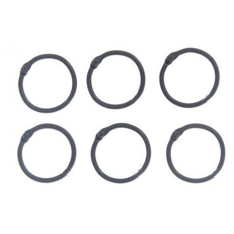 Черный, кольца для альбомов d3см 6шт металл АртУзор