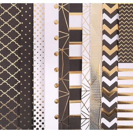 Магический черный, набор односторонней бумаги с фольгироованием 30,5*30,5см 10листов 200г/м АртУзор