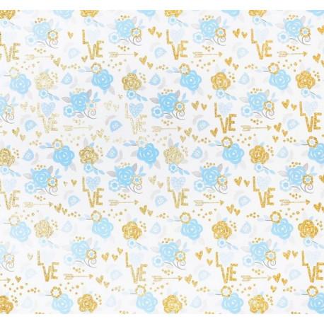 Цветочные мечты, бумага для скрапбукинга с блестками 30,5х30,5см 180г/м2 односторонняя АртУзор
