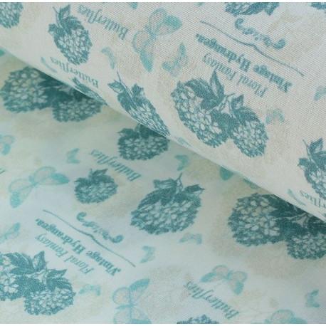 Гортензии №1 серо-голубые, ткань для пэчворка 48х50см 100%хлопок SL(AM)