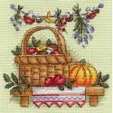 Грибное лукошко, набор для вышивания крестиком 14х14см 25цветов Panna