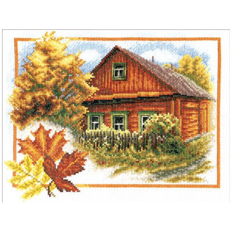 Осень в деревне, набор для вышивания крестиком 26х20см 36цветов Panna