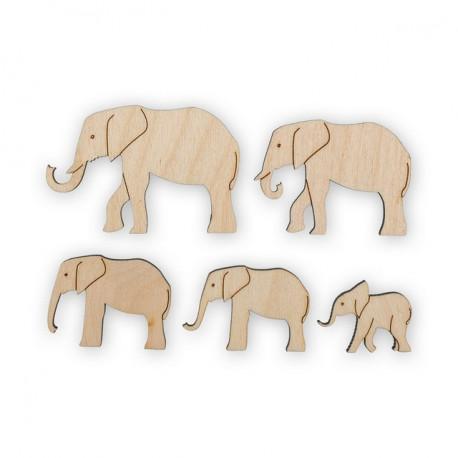 Слоники, набор заготовок для декорирования фанера 3мм 2-6см 5шт. Mr.Carving