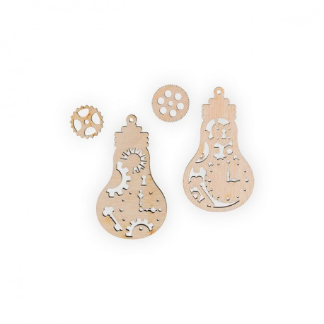 Лампочки, набор мини фигур, заготовка для декорирования фанера 3мм 2х6.5см Mr.Carving