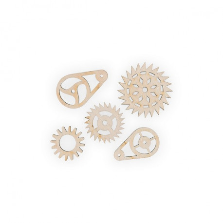 Шестеренки 1, набор мини фигур, заготовка для декорирования фанера 3мм 2х6.5см Mr.Carving