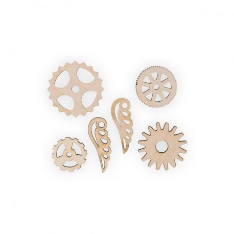Шестеренки 2, набор мини фигур, заготовка для декорирования фанера 3мм 2х6.5см Mr.Carving