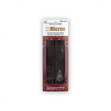 Иглы швейные универсальные с нитковдевателем 45шт сталь Micron(Англия)