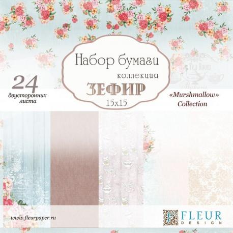 Зефир, набор бумаги для скрапбукинга 15х15см, 24 двусторонних листов Fleur Design