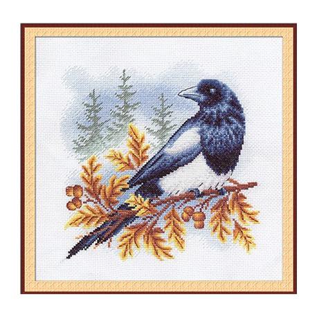 Сорока, набор для вышивания крестиком, 22х22см, 19цветов Panna