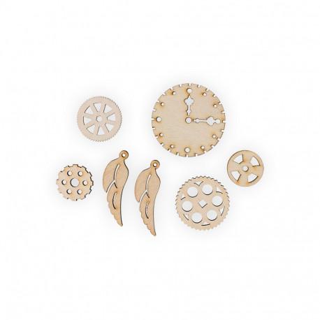 Шестеренки 4, набор мини фигур, заготовка для декорирования фанера 3мм 2х6.5см. Mr.Carving