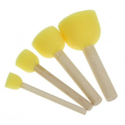 Кисть-спонж круглая, набор 4шт поролон на деревянной ручке SL