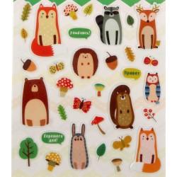 Забавные животные, наклейки декоративные 33шт 11х16см пластик АртУзор