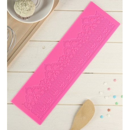 Лэйс, молд силиконовый коврик для айсинга 38,5х11х0,2см SL