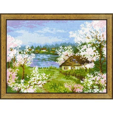 Яблони в цвету, набор для вышивания крестиком, 24х18см, нитки шерсть Safil 18цветов Риолис