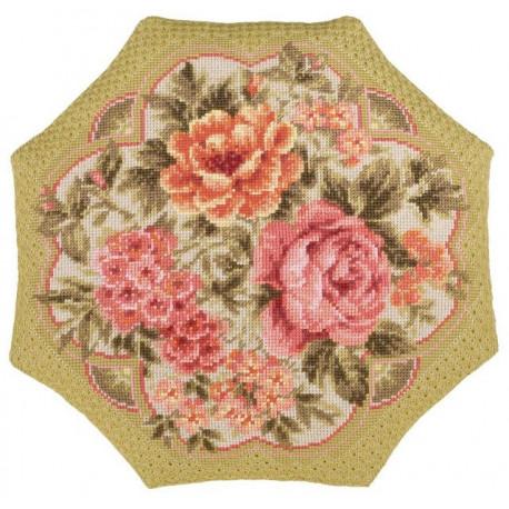 """Подушка """"Вечерний сад"""", набор для вышивания крестиком, 40х40см, нитки шерсть Safil 14цветов Риолис"""