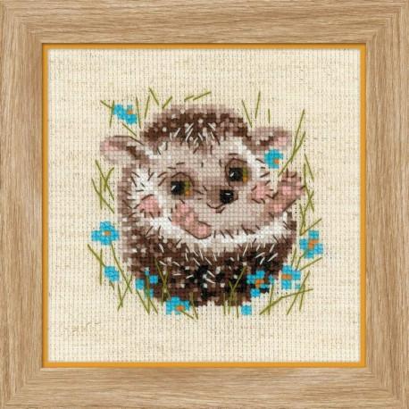 Маленький ежик, набор для вышивания крестиком, 13х13см, нитки шерсть Safil 11цветов Риолис