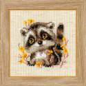 Маленький енотик, набор для вышивания крестиком, 13х13см, нитки шерсть Safil 10цветов Риолис