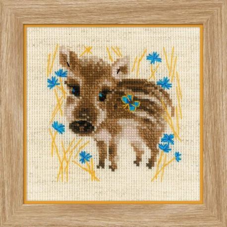 Маленький кабанчик, набор для вышивания крестиком, 13х13см, нитки шерсть Safil 10цветов Риолис