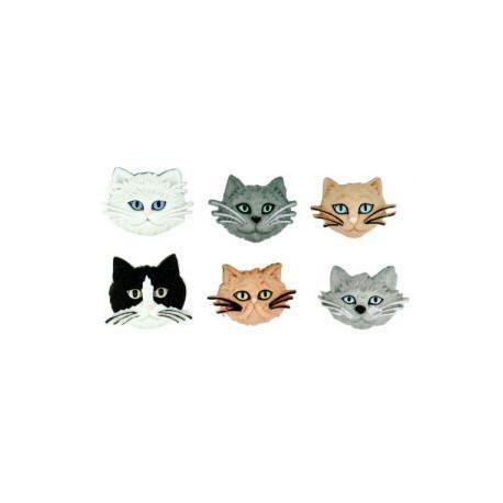 Пушистые кошки, набор пуговиц 6шт пластик Dress It Up