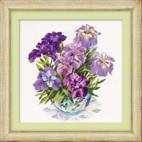 Ирисы в вазе, набор для вышивания крестиком 45х45см нитки шерсть Safil 26цветов Риолис