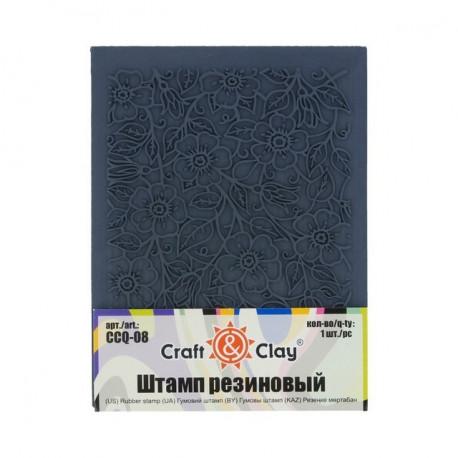 Фон. Цветы, штамп резиновый 10.5х14 см. Craft&Clay