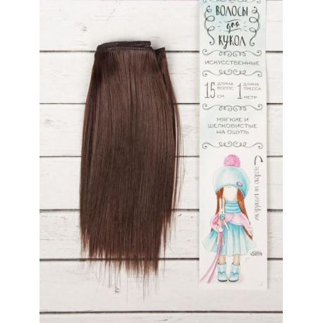 Каштан, прямые волосы для кукол 15см на трессе 100см цв.№4 SL