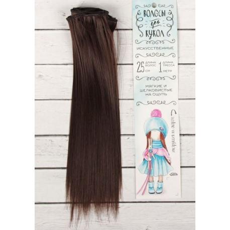 Каштан, прямые волосы для кукол 25см на трессе 100см цв.№4 SL