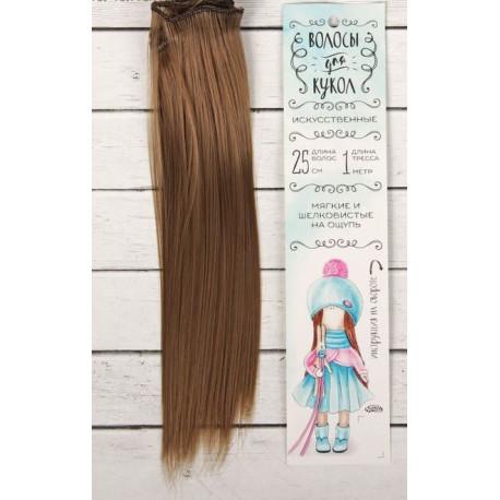 Св.каштан, прямые волосы для кукол 25см на трессе 100см цв.№18Т SL
