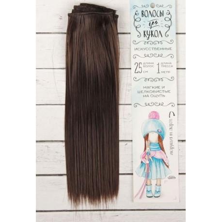 Каштан, прямые волосы для кукол 25см на трессе 100см цв.№4А SL