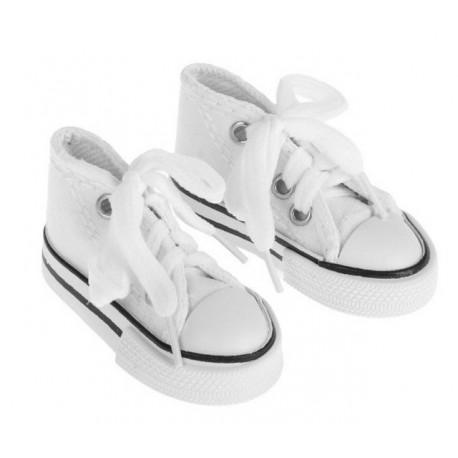 Кеды белые на шнурках, длина стопы 7,5см. Кукольная обувь