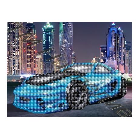 Синий автомобиль, набор для изготовления мозаики круглыми стразами 20х24см 7цв. частичная выкладка