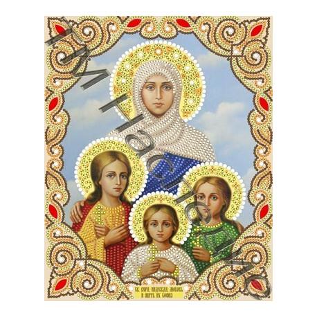 Вера,Надежда,Любовь и мать их София, ткань для вышивания бисером (в наборе бусины и стразы) 20х25см