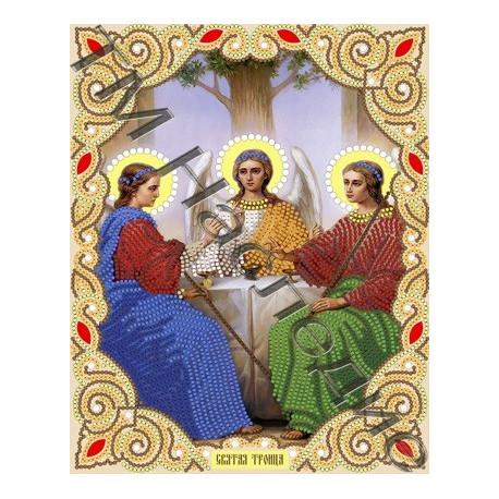 Святая Троица, ткань с рисунком для вышивания бисером (в наборе бусины и стразы) 20х25см Наследие