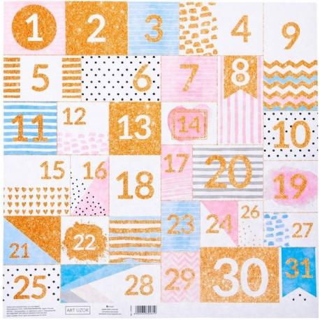 Календарь, односторонняя бумага с блестками 30,5*30,5см 180г/м АртУзор