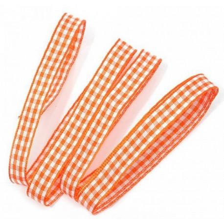 Оранжевый, лента  тканевая в клетку, 10мм, 1м
