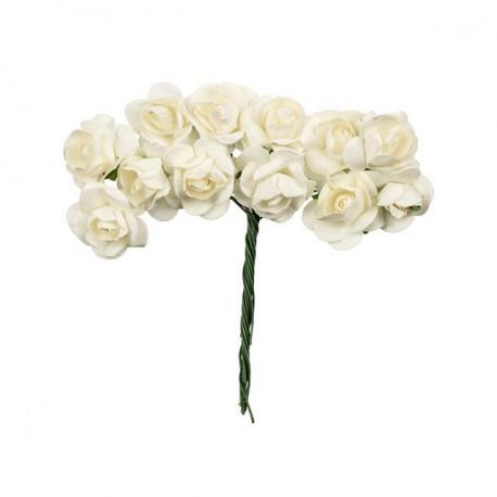 """Ваниль (белый), декоративные элементы """"Цветы"""", диаметр цветка 2,3см, 12шт,  Mr.Painter"""