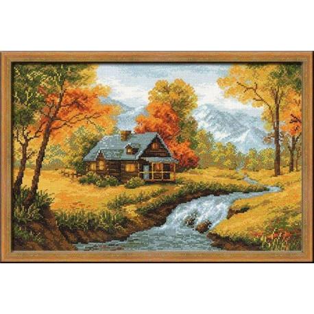 Осенний пейзаж, набор для вышивания крестиком 38х26см нитки шерсть Safil 20цветов Риолис