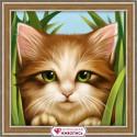 Зеленоглазый котенок, набор для изготовления картины стразами 15х15см 15цв. полная выкладка АЖ