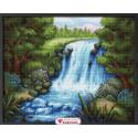 Тихий водопад, набор для изготовления картины стразами 50х40см 40цв. полная выкладка АЖ