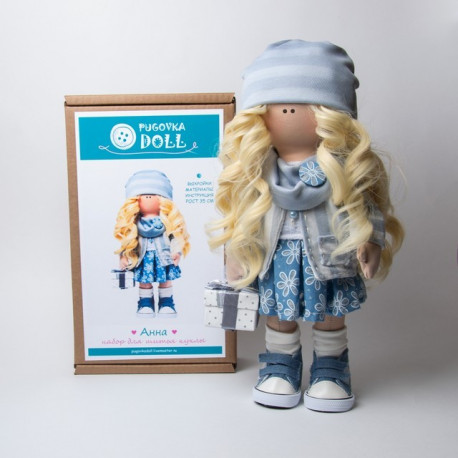 Анна, набор для шитья куклы 35см. Pugovka Doll