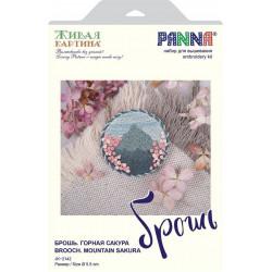 Брошь. Горная сакура, набор для вышивания гладью 5,5х5,5см 7цветов Panna