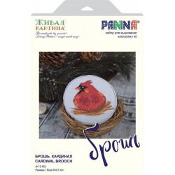 Брошь. Кардинал, набор для вышивания гладью, 6,5х6,5см, 10цветов Panna