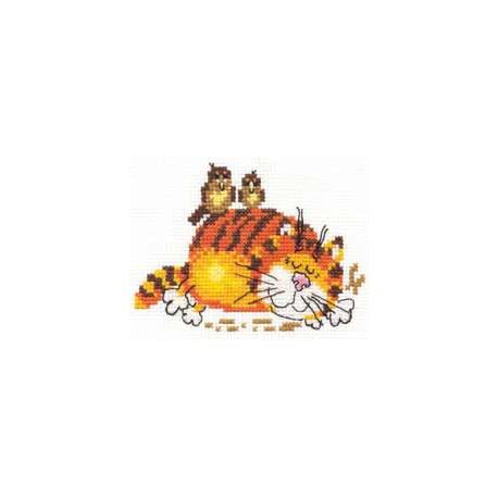 Ленивый кот, набор для вышивания крестиком, 11х9см, 9цветов Алиса