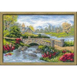 Летний пейзаж, набор для вышивания крестиком 38х26см нитки шерсть Safil 19цветов Риолис