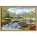 Летний пейзаж, набор для вышивания крестиком, 38х26см, нитки шерсть Safil 19цветов Риолис
