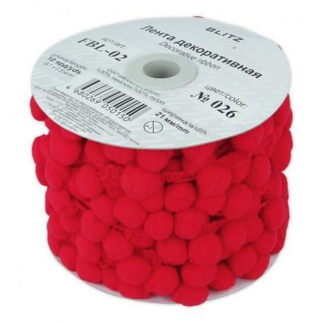 Красный, тесьма декоративная с помпонами 21мм 1м. BLITZ