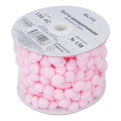 Розовый, тесьма декоративная с помпонами 21мм 1м. BLITZ